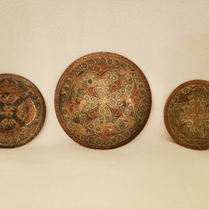 Turkart Copper Wall Plate Decoration, set of 3, ma
